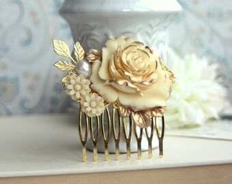 Bridal Hair Comb Gold Rose Hair Comb Ivory Flower Nature Shabby Rustic Inspired Country Chic Wedding Leaf Branch Vintage Bridal Hair Piece