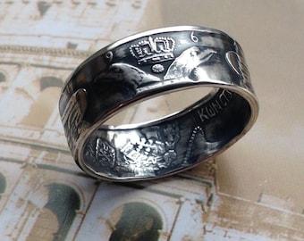 1964 Greece 30 Drachmai Coin Ring — 83.5% Silver