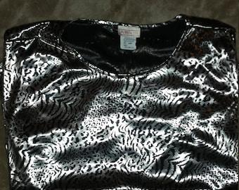 Vintage Metallic Shinny Women's Size L Cheetah Jungle Leopard Print Shirt