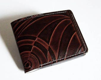 "Handmade Brown Leather Wallet - Thin Bi-fold with Deco Design - Men's Leather Wallet - ""B"" Style Interior"