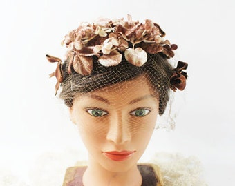 Brown Floral and Velvet Vintage Hat with netting
