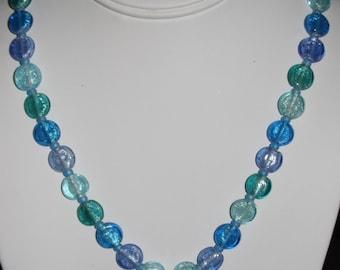 Blue Silver Foil Spring Necklace