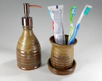 Pottery toothbrush holder soap pump set, ceramic soap dispenser, stoneware soap pump, toothbrush holder with drainage holes, coppertone pump