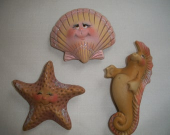 ceramic refrigerator magnets seashell,set of 3