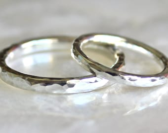 Hammer Faceted Wedding Ring Set in Recycled Sterling Silver - Wedding Bands, Commitment Rings, Promise Rings - Eco Friendly