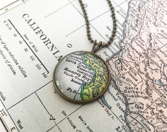 Custom Map Necklace - Custom Map Charm Necklace - Choose Your Map Necklace - Bridesmaid Proposal - Graduation Gift