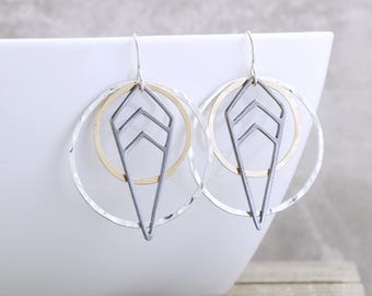 Long Dangle Earrings Geometric Jewelry Mixed Metal Jewelry Gold and Silver Earrings Modern Earrings Bohemian Chic Earrings Gold Gift For Her