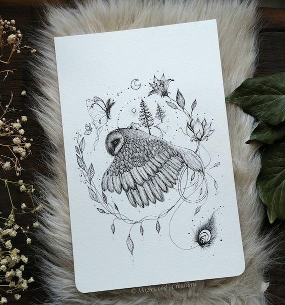 Original illustration, Owl Pen-in-flight drawing, 5.5 x 8 inches, owl gift idea, art owl
