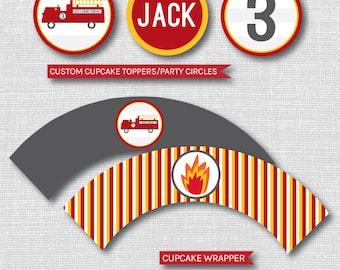 Personalized Fire Truck Birthday Cupcake Toppers - Cupcake Topper/Wrapper Set - Fire Truck Birthday - Party Circles - DIGITAL DESIGN