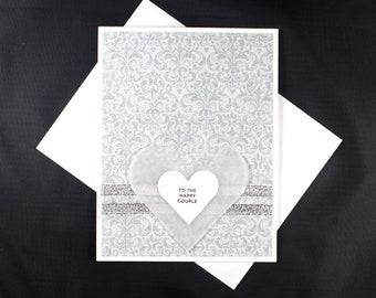 "Wedding Card For Couple - Handmade Heart Wedding Card ""To The Happy Couple"". Silver/Hearts Wedding Card. Custom Card. Greeting Cards"