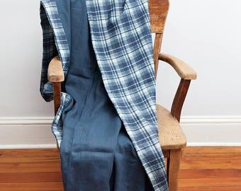 Blue Blanket, Blue, Blanket, Throw Blanket, Lightweight Blanket, Linen Blanket, Linen Throw Blanket, Blue Plaid Blanket,