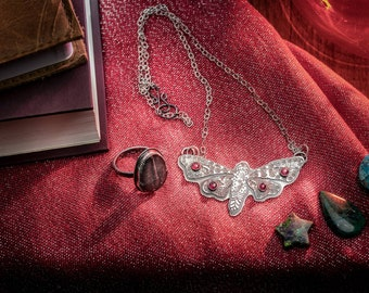 Moth Necklace in Paisley and Tourmaline, Handmade TO ORDER, Beautiful Moth Necklace for Girlfriend, Wife, Gift for Self