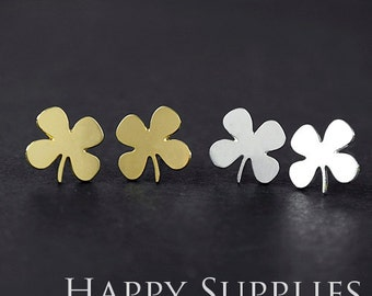 Nickel Free - High Quality Clover Dual-used Golden / Silver / Rose Gold Brass Earring Post Finding with Ear Studs Back Stopper (ZEN030)