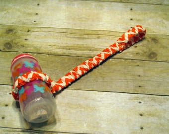 Sippy Cup Strap Orange & White Chevron - Ready to Ship