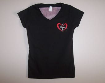 Heart of Love for Animals - Ladies V-Neck Short Sleeve - Size L