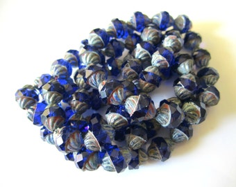 Sapphire Turbine Glass Beads Blue Turbine Sapphire Czech Glass Beads Blue Turbine Czech Beads Blue Beads 11x10mm (6 pcs) 246V3