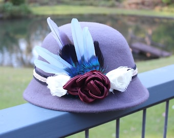 Women's grey wool felt steampunk cloche hat with feathers and chiffon & satin flowers
