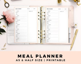 A5 HALF Size Meal Planner, Life Planner, Personal Printable Planner Inserts