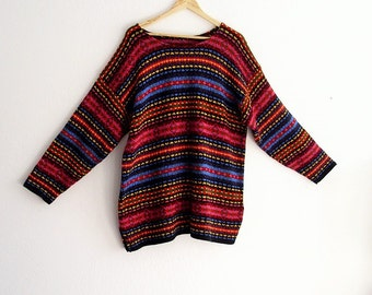 Sale Chunky Tribal Multi-Colored Sweaters. Ethical Vegan Fashion