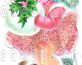 Digital download vintage Christmas card, cute girl Ice Skater Pink Muff, Holly Dog