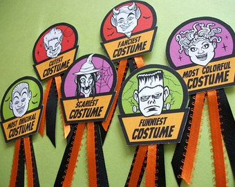 Halloween Costume Award Badges, cute monster prize and contest ribbon badges for Halloween parties, Best Halloween costume ribbon