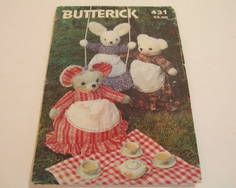 Country Mouse Bunny and Bear  Pattern