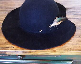 Women Classic hat , Black felt winter autumn wide brim hat , Hat for her , womens hat , floppy Hat