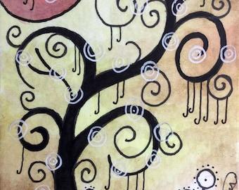 Custom personalised big art whimsey trees swirly 10 x 16 10 x 10 5 x7 - Katie Hone - Original Artwork - Whimsical
