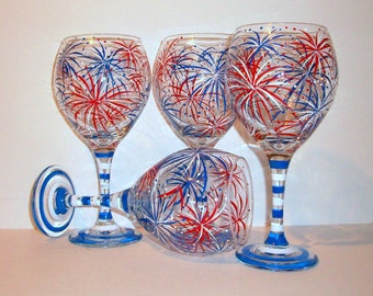 July 4th Fireworks Patriotic July Fourth Hand Painted Wine Glasses Set of 4- 21 oz. New Years Eve Independence Day Hand Red White and Blue
