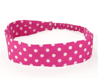 """Fabric Headband - Fuschia Dot - Pick your size - fit toddlers to adults - 1-1/2"""" wide"""
