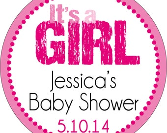 Personalized Glossy It's a Girl (or Boy) Baby Shower Stickers - many designs to choose from - can change colors, wording, etc. BR-003