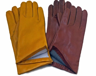 New winter gloves for women,fall color,gift for her,yellow leather gloves ,colorful gloves.lambskin gloves,italian gloves wool lining