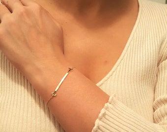 14k Solid Gold Bar Bracelet, Gold bracelet, Special gift idea, Gold fashionable bracelet, 14k gold jewelry bracelet