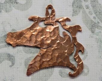 Hammered Copper Horse Head Pendant, Handmade- Item 1812