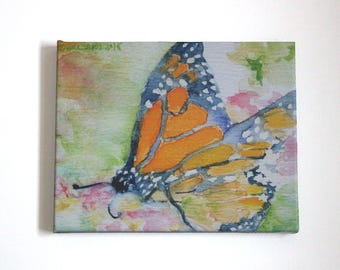 Monarch Artwork Mothers Day Gift for Her Butterfly Art Watercolor Picture Summer Painting Stretched Canvas Print Home Office Dorm Decor