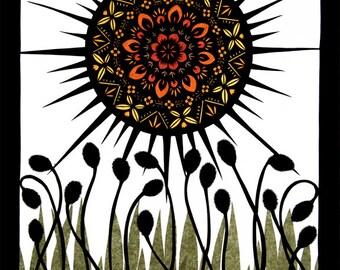 Sun Worship - 11 x 14 inch Cut Paper Art Print