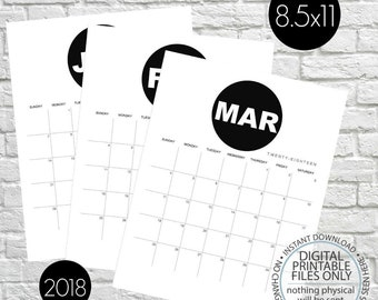 Printable Calendar 2018, Minimalist Calendar, Black and White Wall Calendar, Monthly Calendar, Monthly Planner, Calendar Pages, Letter Size