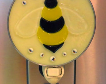 Bumble Bee NLs 3 Choices - Glass Bee Nightlights - Black & Yellow Bumble Bees - Fused/Stained Glass Night Lights