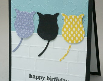 Happy Birthday, Cat Birthday Card, Happy Birthday Cat, Birthday Card Cat, Embossed Greeting Card, Black Cat Lover Birthday, Cute Cats Card