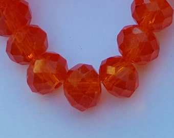Glass Beads - 42 pcs - 8mm x 6mm - Orange Glass Beads - Faceted Beads - Orange Beads - Orange Rondelles -  Faceted Glass Beads