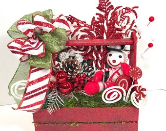 Snowman mini toolbox, mini toolbox, Christmas mini toolbox, christmas centerpiece, snowman tabletop, holiday decorations, home decor