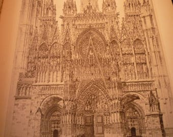 Rouen Cathedral Stone Lace Screen John Taylor Arms etching - fine detail - framable 1930 book plate print French Church in stone