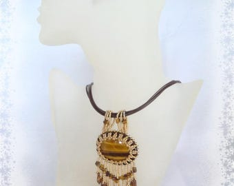 Manitou - Embroidered Tiger's eye - OOAK necklace