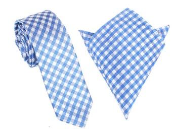 Matching Skinny Tie + Pocket Square Combo Blue White Gingham Checkered (X452-ST6+PS) Men's Handkerchief + Slim Ties Thin Narrow Wedding