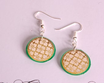 Japanese motif, gold and emerald green earrings