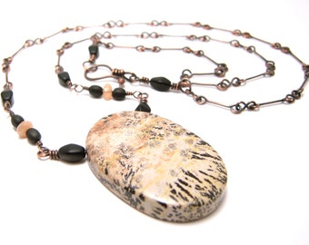 Dendritic jasper necklace, large jasper with dendrites, handmade copper chain, moonstone beads, ready to ship.