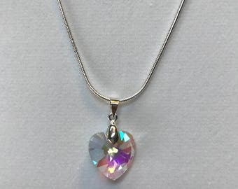Silver chain with crystal heart pendant
