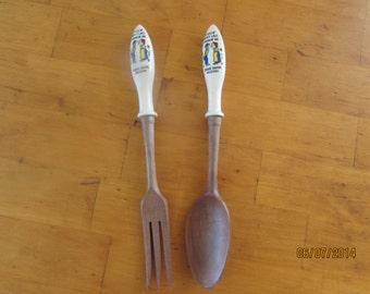 vintage salad fork and spoon serving set bridal shower gift