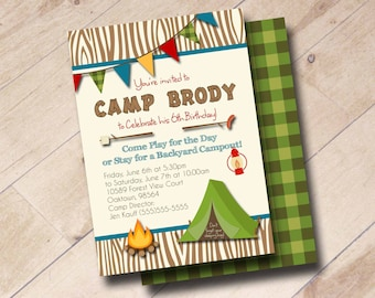 Woodsy Camp-Out Birthday Invitation - Plaid, Camping, Sleep Over, Outdoors
