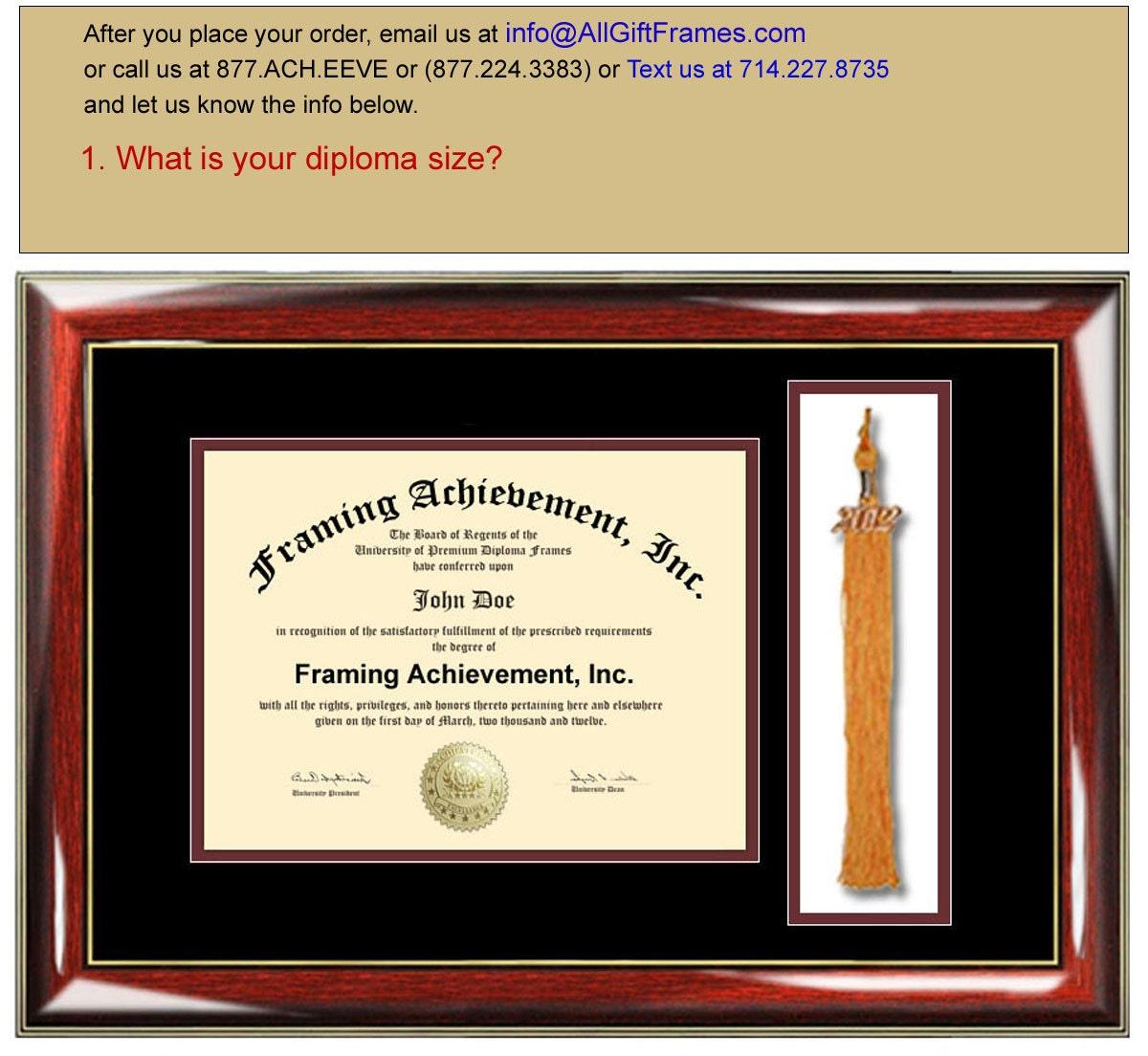 Tassel Box Diploma Frames College Degree Framing Top mat Black Inner ...